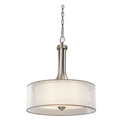 Kichler Lighting - Kichler Lighting - 42385 - Lacey - Three Light Inverted Pendant - This 3 light pendant from the Lacey Collection offers a beautiful contrast, melding the charm of Olde World style with clean modern-day materials. It starts with our Antique Pewter Finish and bold, unadorned rounded-arm styling. It finishes with avant-garde double shades made of decorative mesh screens and Opal inner glass. Diameter: 20, Body Height: 23.5, Overall Height: 97.5. Uses 100 watt bulbs or 23-30w CFL.