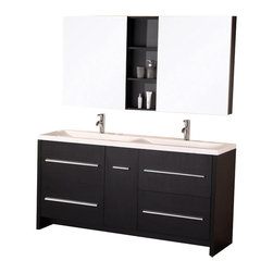 "Design Element - Design Element Perfecta Espresso Modern Double Sink Vanity Set - 63"" - The 63"" Perfecta Vanity is uniquely designed and constructed of solid hardwood. The integrated white acrylic drop in sinks tailored edge brings a crisp clean contemporary look to any bathroom. The rectangular double sinks unique rolling curved basin, beautifully contrast with the sharp lines of the espresso cabinetry. This sophisticated design includes four large drawers and a soft closing cabinet with satin nickel finish hardware. Two mirrored soft closing medicine cabinet cabinets with joining espresso shelves provide ample storage. The Perfecta Vanity is designed as a center piece to awe-inspire the eye without sacrificing quality, functionality or durability."