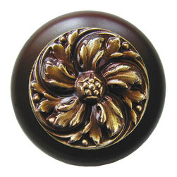 """Notting Hill - Notting Hill Chrysanthemum/Dark Walnut Wood Knob - Antique Brass - Notting Hill Decorative Hardware creates distinctive, high-end decorative cabinet hardware. Our cabinet knobs and handles are hand-cast of solid fine pewter and bronze with a variety of finishes. Notting Hill's decorative kitchen hardware features classic designs with exceptional detail and craftsmanship. Our collections offer decorative knobs, pulls, bin pulls, hinge plates, cabinet backplates, and appliance pulls. Dimensions: 1-1/2"""" diameter"""