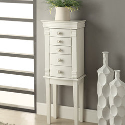 Linon - Linon Angela White Jewelry Armoire - Traditional in style and design,the Linon Angela Jewelry Armoire is a timeless addition to a bedroom,large closet or dressing area. Each side opens to reveal multiple hooks for necklaces.