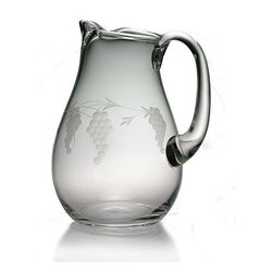 INSTEN - Sonoma Handcut 90-ounce Classic Round Pitcher - This round carafe features a hand-cut Sonoma grape vine pattern honed by the skilled artisans of Susquehanna Glass. Accent your home bar collection or give this large pitcher as a gift to a friend.
