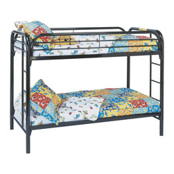 "Monarch - Black Metal Twin/Twin Bunk Bed Only - The fun space saving design of this black metal twin bunk bed will make a wonderful addition to your child's bedroom. Convenient built in ladders on each side lead up to the top bunk which is surrounded with full length guard rails for extra piece of mind. Perfect for kids sharing a room or for the child with frequent slumber parties!; Assembly required; Weight: 98 lbs; Dimensions: 78""L x 42""W x 60""H"