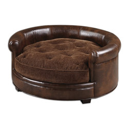 Uttermost - Lucky Designer Pet Bed - Man's Best Friend Deserves To Have A Stylish And Comfortable Bed Also And Here You Have It. This Bed Features Durable, Brown Imitated Leather With A Plush, Russet Brown Cushion That Is Tufted And Reversible, And Buckles To The Hardwood Frame. Bulbs Included: No