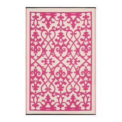Fab Habitat - Indoor/Outdoor Venice Rug, Cream & Pink, 3x5 - Add a touch of Venetian splendor to your patio or playroom. This festive all-weather rug is woven from straws made of recycled plastic. Washable and mildew resistant, it's an ideal blend of good looks and easy maintenance. Comes with its own tote bag, for convenient transport or storage.
