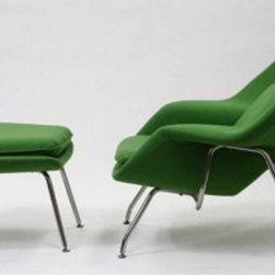 Nest Lounge and Ottoman Set in Emerald - The view from your bay windows gets even better when you're seated in this Mid-Century Lounge Chair and Ottoman. Bold yet elegant, the chair's welcoming silhouette makes the simple act of gazing a delight. Melt into its womb-like shell and take yourself out of the daily grind and into a state of ultimate relaxation.