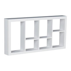 Welland - Taylor Display Wall Shelf - No room for a big, bulky shelving unit? Utilize this dignified wall shelf instead. The numerous pockets allow you to show off your various collectibles without finding a place for yet another piece of furniture.