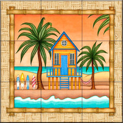 The Tile Mural Store (USA) - Tile Mural - Surf Shack 2   - Kitchen Backsplash Ideas - This beautiful artwork by Dan Morris has been digitally reproduced for tiles and depicts a bordered beach scene.  Beach scene tile murals are great as part of your kitchen backsplash tile project or your tub and shower surround bathroom tile project. Waterview images on tiles such as tiles with beach scenes and sunset scenes on tiles and tropical tile scenes add a unique element to your tiling project and are a great kitchen backsplash idea or bathroom tile idea. Use one or two of our beach scene tile murals for a wall tile project in any room in your home for your wall tile project.