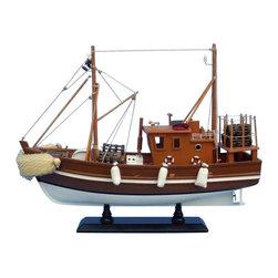 "Handcrafted Model Ships - Liquid Asset 18"" - Wooden Model Fishing Boat - Not a model ship kit"