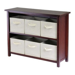 Winsome Verona 2-Section W Storage Shelf Bookcase with 6 Foldable Beige Fabric B - Make cleaning fun - we promise it's possible - with the Verona 2-Section W Storage Shelf with 6 Foldable Beige Fabric Baskets. Six removable foldable beige fabric baskets with easy-to-tote handles can get everyone in on the action; just take them wherever you need to organize and toss everything in. The baskets fit snugly into the rich dark wood solid and veneer shelf; the system is ideal for magazines books toys blankets and clothes in the living room bedrooms bathrooms entryways and offices. The 2-section design is easy to access without taking too much floor space too. Assembly is required; 30-day warranty included.Basket DimensionsBaskets: 11W x 10D x 9H inchesAbout Winsome TradingWinsome Trading has been a manufacturer and distributor of quality products for the home for over 30 years. Specializing in furniture crafted of solid wood Winsome also crafts unique furniture using wrought iron aluminum steel marble and glass. Winsome's home office is located in Woodinville Washington. The company has its own product design and development team offering continuous innovation.