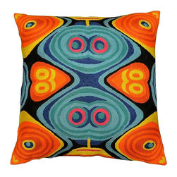 """Modern Wool - Modern Fusion Design Pillow Cover Hand Embroidered 18"""" x 18"""" - Modern Fusion design pillow cover - This vivid, stand-out fusion design cushion cover is an excellent way to show off the exquisite nature of chain stitch embroidery, which is a finer form of crewel. Each element in this modern pillow is defined with a unique swirl-pattern, and the colors are layered over each other so that each is displayed in maximum contrast. The vibrant colored pattern against the burnt orange and blue is an equally eye-catching juxtaposition. Every inch of the base is covered with the embroidery. This look can be contemporary or retro. This decorative pillow cover is a work of art, hand created by some of the finest artisans in the world. No two pillow covers are exactly alike. Solidly constructed of soft wool, its matchless durability makes it a practical and perfect choice wherever you choose to use it."""