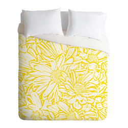 DENY Designs - DENY Designs Lisa Argyropoulos Daisy Daisy In Golden Sunshine Duvet Cover - Ligh - Turn your basic, boring down comforter into the super stylish focal point of your bedroom. Our Lightweight Duvet is made from an ultra soft, lightweight woven polyester, ivory-colored top with a 100% polyester, ivory-colored bottom. They include a hidden zipper with interior corner ties to secure your comforter. It is comfy, fade-resistant, machine washable and custom printed for each and every customer. If you're looking for a heavier duvet option, be sure to check out our Luxe Duvets!