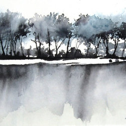 Dixon - Original Watercolor Painting - The village of Dixon on the Embudo River in northern New Mexico. Is home to organic farmers, artists and craftsmen  southwest of Taos.  This is a quick little watercolor of the orchards that follow the river.