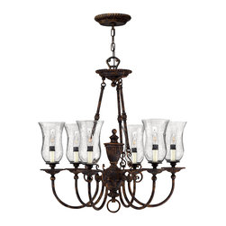 Hinkley Lighting - Rockford 3-Light Chandelier - Hand-blown Clear Seedy glass adds character to the well-aged Forum Bronze finish of the Rockford collection. Comes in Forum Bronze finish. Takes 6 60 Watt Candle Bulbs.