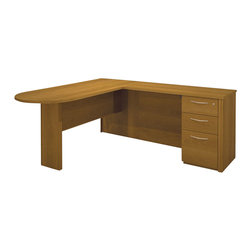 Bestar - Bestar Embassy L-shaped Workstation with 1 Assembled Pedestal in Cappuccino Cher - Bestar - Executive Desks - 6087868 - Warm and elegant the Embassy Collection stands out with its versatility. From executive groups to computer work centers Embassy is the answer. Stylish moldings thermofused melamine finish and designer handles are some of the great features offered in this stunning collection by Bestar. This traditional modular collection offers numerous configuration for various use.