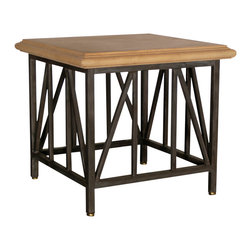 """GILANI - Ramses Lamp Table Base - Ramses Lamp Table Base. Style no: ST96760. 28""""w x 28""""d x 26""""h. Material: Metal. Finish: As specified. Top Options: Wood, glass, stone, copper. Custom sizing available. Designed by Shah Gilani, ASFD."""