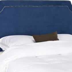 Safavieh - Safavieh Shayne Blue Queen Headboard X-C2264RCM - Create a glamorous bedroom retreat with the Shaye Queen headboard, offering a transitional update on a classic design. Shaye features a rectangular notched silhouette that is echoed in nailhead detailing. Thick padding cushions a frame tightly upholstered in Royal Blue suede polyester fabric to assure comfort and tailored fashion.