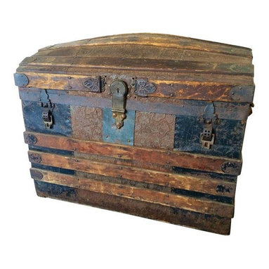 Pre-owned Vintage Trunk #1 - A vintage embossed leather, metal, and wood trunk from Down East Maine. This piece has the perfect antique look. It would be great at the foot of the bed for storing blankets or under a console in a living room for extra storage.