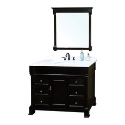 Bellaterra Home - 50 Inch Single Sink Vanity-Wood-Espresso - This single vanity will be the keystone of your bath or powder room. The strong classic design commands attention and  speaks volumes about your elegant taste. Constructed of environmentally friendly, zero emissions solid oak wood, engineered to prevent warping and last a lifetime. Top with white marble top, variations in the shading and grain of our natural stone products enhance the individuality of your vanity and ensure that it will be truly unique. Dimension: 50 x 22.5 x 35.5