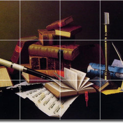Picture-Tiles, LLC - Music And Literature Tile Mural By William Harnett - * MURAL SIZE: 12.75x17 inch tile mural using (12) 4.25x4.25 ceramic tiles-satin finish.
