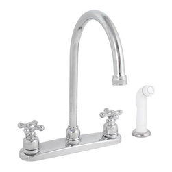 PREMIER - Sanibel Lead-Free Two-Handle Kitchen Faucet with Spray, Chrome - With beautiful styling and traditional cross handles that evoke the cherished charm of an earlier era, Sanibel kitchen faucets add a touch of elegance and a splash of style to any kitchen. The graceful curve of the high-arc spout offers an alluring look of contemporary distinction. Time-tested washerless cartridge reliability ensures long-lasting service. The Sanibel kitchen faucet features a lead-free brass waterway, 1/2-inch IPS connections, a chrome-plated finish, and a white sprayer with a 48-inch reinforced hose. It provides a powerful flow rate of 2. 2 gallons per minute and complies with the requirements of the Uniform Plumbing Code. It is covered by Premier's industry-leading Limited Lifetime Warranty. This faucet has been certified to meet the strict lead-free standards of California and Vermont.