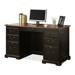 Riverside Furniture - Bridgeport Flat Top Desk - Two pull-out writing shelves above drawers.
