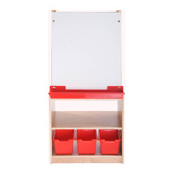 Ecr4kids - Ecr4Kids Art Easel With Storage - 2 Station - This double-sided unit allows 2 children to paint comfortably. Each station has a dry-erase board, its own tray for paint cups, easel clips and additional storage below for extra accessories.