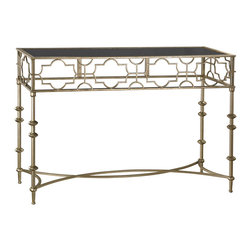 Sterling Lighting - Sterling Lighting Moorish Style Console Table - This collection showcases Moorish inspired stylish solutions for essential home storage and display. The patterns and frames are formed from fine metalwork and finished in an elegant antique gold. The shelves and console top are formed from sleek black glass adding a touch of glam to this traditionally inspired collection.