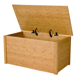 Bamboo Storage Chest - WoodToyBox.com features all-wood toy boxes and blanket chests with optional laser engraved personalization.  The toy boxes also feature an optional cedar base for cedar chest applications.  Available in cherry, espresso, oak and bamboo.  Produced in Bismarck, ND USA