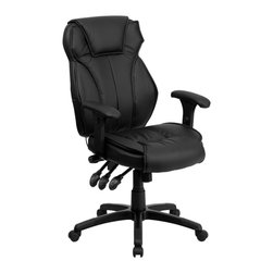Flash Furniture - Flash Furniture Office Chairs Leather Executive Swivels X-GG-H5389-TB - This ergonomically designed office chair offers plenty of adjustable features to get to your desired comfort level! The triple paddle control feature controls your seat height, back tilt position and knee tilt. The most valuable feature of this chair is the controlled lumbar knob that allows you to increase and decrease the pressure provided to your back. The durable nylon base features rigid end caps that prevent feet from slipping. For your next office chair, look no further than this extremely comfortable and stylish leather office chair! [BT-9835H-GG]