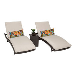 TKC - Tahiti Chaise Set of 2 Outdoor Wicker Patio Furniture With Side Table 2 for 1 - Ideal for enjoying some well-deserved relaxation poolside or on the deck, this set of cushioned wicker chaise lounges features adjustable backs for personalized comfort. These weather-resistant chaise lounges have folding legs that make storage simple.