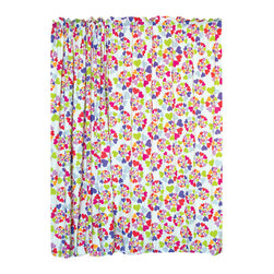 """Heart Throb Window Panels set - Our Heart Throb window curtain sets coordinate with the bedding fabric, knobs and accessories to make the room theme complete. This fun designer fabric has graphic swirls of multi-colored hearts. 2 panels, 84""""L x 59"""" W."""