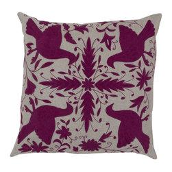 "Surya - Surya 18 x 18 Decorative Pillow, Oatmeal and Raspberry (LD024-1818P) - Surya LD024-1818P 18"" x 18"" Decorative Pillow, Oatmeal and Raspberry"