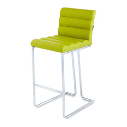 Zuri Furniture - Luna Counter Height Bar Stool - Lime Green - The Luna polished chrome counter stool is a modern piece with a retro twist. Padded with high density foam and covered in soft faux leather for superior comfort, the quilted stitching adds a touch of opulence. This extremely comfortable counter stool cradles the body.