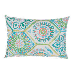 Jaipur - Veranda Poolside 13 x 18-Inch Decorative Pillow - - These fashion forward pillows in trellis stripes and whimsical patterns are for both indoor and outdoor use  - Care Instructions: Remove the throw pillow's cover if it is removable. Wash the cover separately from the pillow. Pre-treat badly soiled or stained areas on the pillow cover with a color-safe prewash spray. Rub the spray into the stain with a damp sponge. Wash the pillow cover or the whole pillow on a gentle-wash cycle in warm water with a very mild detergent. Detergent for delicate fabrics or baby clothes is usually suitable. Remove the pillow or pillow cover as soon as the washing machine has ended the cycle and has shut off. Hang the pillow or cover up to dry in a well-ventilated area. If the care label specifies that the item is dryer-safe place the pillow or pillow cover in the dryer and tumble dry on low heat. Fluff the pillow once it is dry in order to maintain its form. Don't use the pillow until it is completely dry. Damp pillows will attract dirt more easily  - Made in USA Jaipur - PLW101762