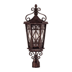 Savoy House - Felicity Post Lantern - Enclosed in this outdoor lantern are three light fixtures that softly glow through its gate-like exterior. A bell-shaped pendant hangs below the housing, adding yet another exquisite feature.