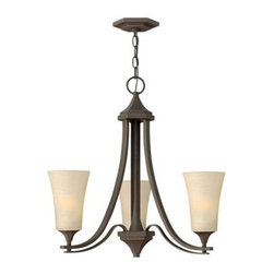 Hinkley Lighting - Mini Chandelier - Brantleys transitional design features bold arms that sweep outward creating a striking effect while geometric castings and decorative twin arm construction add to its beauty. The Oil Rubbed Bronze finish is paired with etched amber glass and the Textured Black finish and Brushed Nickel finish is complemented by etched white glass.