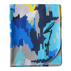Cotton Baby, Blue Watercolor - - a breathable, lightweight and warm blanket for your little one