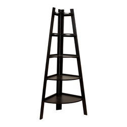 Danya B - Five Tier Corner Ladder Display Bookshelf - Contemporary five shelf bookcase with space-saving design that easily fits in the corners of most rooms.  The shelves narrow down in size from bottom to top in a fashionable ladder style allowing you to display photo frames, books, and other collectible or decorative items.  Espresso Finish.