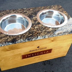 Wine Crate Pet Bowl with Granite Top- Insignia - Alpine Wine Design