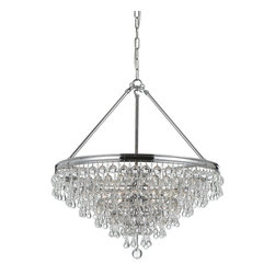 Crystorama - Crystorama Calypso Chandelier X-HC-631 - Sleek and contemporary, the shiny chrome banding brings to mind a handcrafted motorcycle. Pair that with artfully arranged cascading clear brown glass balls and teardrops, and the Calypso chandelier definitely doesn't look like your grandmother's chandelier.