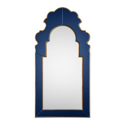 Sapphire Mirror - At 54 inches, Bunny Williams' Sapphire mirror is the epitome of sophistication. Add gold specks throughout its Mediterranean blue finish, and you have pure glamour.