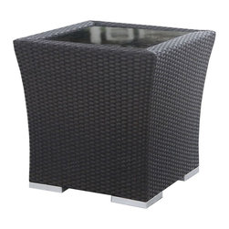 Source Outdoor - Como Lago Side Table in Espresso Finish (Large) - Choose Size: Large. High quality powder coated aluminum frame to prevent rust and corrosion. It is recommended that furniture not be stored upside down. Warranty: Limited three years residential for defects in workmanship and materials. Made from high density polyethylene wicker and aluminum. Small: 18 in. W x 18 in. D x 18 in. H (13 lbs.). Large: 24 in. W x 24 in. D x 18 in. H (23 lbs.)Premier Outdoor Furniture offers its customers a complete ensemble of high quality comfortable outdoor furniture. You can furnish your outdoor area with seating, lounging, dining, bar tables, barstools and much more. Our furniture is built to Hospitality grade and meant to be outside in the elements 24/7. Wicker ensures the long lasting beauty of the furniture.