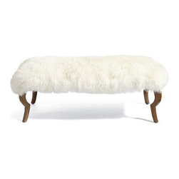 Grandin Road - Harry Bench with Mongolian Sheep Fur Cover - Long bench with smooth, linen-covered upholstered seat. Curved wooden legs have the shape of antelope limbs. Mongolian Sheep Fur Cover is 100% genuine lambs wool. Imported. A versatile and timeless piece, David Bromstad's Harry Bench is an elegant linen-upholstered bench, in light gray, with wooden legs shaped like those of graceful antelope. For a shaggy twist, slip on the genuine Mongolian Sheep Fur Cover, made expressly to fit the bench. Fur cover is also a handsome throw for a sofa or chair. But we think they look best together at the foot of a bed, in an entry hall, or alongside a dining table for a decadent meal.  .  .  . . A Grandin Road exclusive.