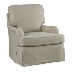 Sam Moore Tilly Swivel Glider - Natural - Comfort and style live in the Sam Moore Tilly Swivel Glider - Natural. This chair features slim, rolled arms, a deluxe seat cushion, and loose back cushion you'll love. The tailored welt trim, full skirt, and natural fabric upholstery lend sophistication. But not just stylish, this chair also has a smooth swivel and gliding action that will make it your favorite.About Sam MooreSince 1940, Sam Moore's hand-crafted upholstered furniture has offered extraordinary quality, comfort, and style. This Bedford, Virginia-based company proudly crafts its products right here in the USA. From classic to transitional to contemporary styles, Sam Moore takes time with every detail, making sure each piece is something you'll appreciate in your home.