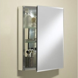 "Kohler - 20"" x 26"" Single Door Aluminum Medicine Cabinet - This mirrored cabinet with Silver interior features 0.5"" beveled frameless door that can be installed with a left or right hinge. Inside, two adjustable 0.25"" glass shelves hold all your toiletries and bath items. Rust-free aluminum construction ensures years of use, and a matching mirrored light fixture is an optional but attractive and convenient accessory. A side kit is included for recess- or surface-mount installations. Features: -Available in Silver Aluminum. -Medicine cabinet. Dimensions: -Rough: 19.25"" x 25.25"" (opening size). -Overall: 26"" H x 20"" W x 5"" D, 35 lbs."