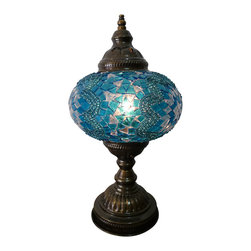 Jay Bazaar - Stunning Blue color Tribal Mosaic Lamp - Sky Star - Authentic Desk Lamp , Moroccan Style Lamp , Night Lamp, Exotic Lamp
