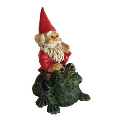 Michael Car Designs - Michael Carr Garrold Gnome On Toad Resin Statue Multicolor - MCD80038 - Shop for Statues and Sculptures from Hayneedle.com! The Michael Carr Garrold Gnome On Toad Resin Statue makes a fun addition to any outdoor space. This charming gnome is part of the Michael Carr Garrold Gnome Collection. Each gnome is intricately detailed with stunning lifelike features. Garrold is seen here on top of his friend the toad getting ready for a ride through the forest. He is sporting his trademark red gnome hat and a richly colored red coat. The durable polyresin has a U.V. coating that resists cracking or chipping from the sun.About Michael Carr DesignsDesigning an exclusive line of high-end garden pottery fountains statuaries and bird baths Michael Carr Designs brings something new and innovative to your outdoor living space. There's something for everyone with their fashionable colors soft raining finishes and multiple styles. Each piece is hand-made beginning with a craftsman molding the clay and ending with a rustic Old World kiln. This means each piece is unique a true one-of-a-kind. Michael Carr Designs works in a variety of materials like Vietnamese glazed pottery Malaysian pottery Italian terracotta pottery and resin just to name a few.
