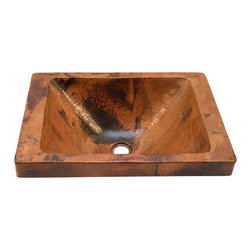 """Artesano Copper Sinks - Rectangular Raised Profile Bathroom Copper Sink with Apron - Rectangular Raised Profile Bathroom Copper Sink with Apron 20 x 14 x 6, apron is 2"""", side rims are 2"""", front and back rims are 1"""", inside is 16 x 12 x 5.5, drain is 1.5"""". The sink will sit 2"""" high from the countertop"""