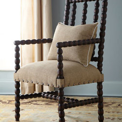 """Bobbin"" Chair - The ""Bobbin"" chair draws its inspiration from an English antique style that originated in the 1800s.  This beautiful chair has an updated appeal with a hand-rubbed espresso finish and nailhead trim.  This chair would be just beautiful as an accent chair or additional seating in any room.25""W x 22""D x 47""T"