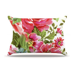 "Kess InHouse - Heidi Jennings ""Walk Through The Garden"" Pink Flowers Pillow Case, King (36"" x 2 - This pillowcase, is just as bunny soft as the Kess InHouse duvet. It's made of microfiber velvety fleece. This machine washable fleece pillow case is the perfect accent to any duvet. Be your Bed's Curator."